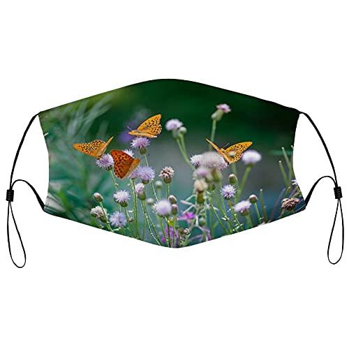 Cara de tela Ma_sks, reutilizable y transpirable cara co-ver con 2 filtros pasamontañas ajustable protector bucal para hombres y mujeres, mariposas naranjas bebiendo néctar en un fondo floral verde