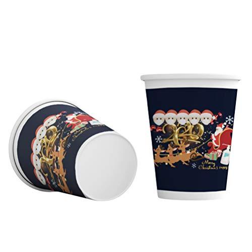 Surenhap Lot de 50 gobelets en carton de Noël - Gobelets chauds en papier - Pour café et eau