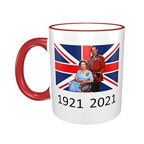 Tasse Queen Elizabeth II & Prinz Philip auf der britischen Flagge, UK Britain Monarch Tasse, 1921–2021, Rot