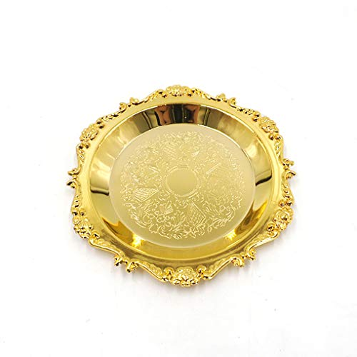 Gilded Pattern Dinner Plate Serving Tray Dessert Cake Steak Tray Barbecue Food ContainerTowel Tray Storage Tray Tea Tray Fruit Trays Cosmetics Jewelry Organizer Gold Round 59 inch