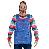 Faux Real Men's Sublimated Faux Full Zip Mask Hoodie, Chucky, XX-Large