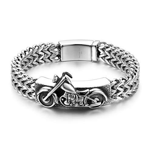 JewelryWe Herren Armband, Edelstahl Gotik Biker Motorrad Königskette Armreif mit glänzend poliert Schließe, Silber, mit kostenloser Gravur