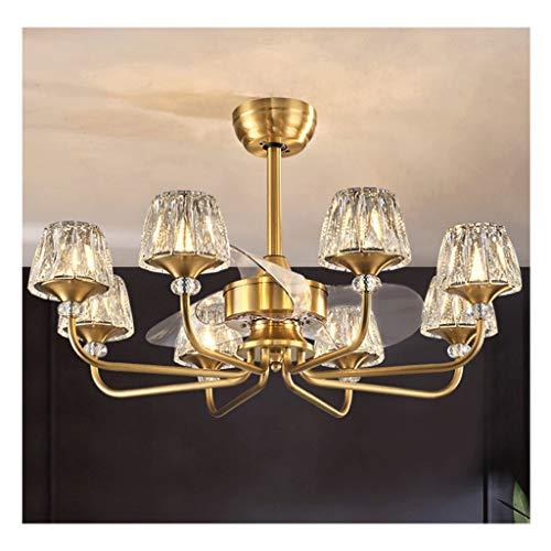 Luces de ventilador de techo Cristalino de lujo Ventilador de techo con la lámpara y Silent Fan LED de control remoto 36 pulgadas de la lámpara con 8 Crystal Lampshades (oro) Dormitorio, habitacion