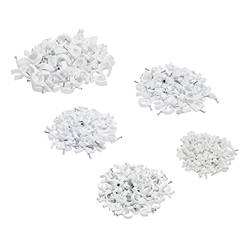 500 Pack Cable U Nails, Wire Clips for Wall Mounting Cords, Home Theater, Office (5 Sizes, White)