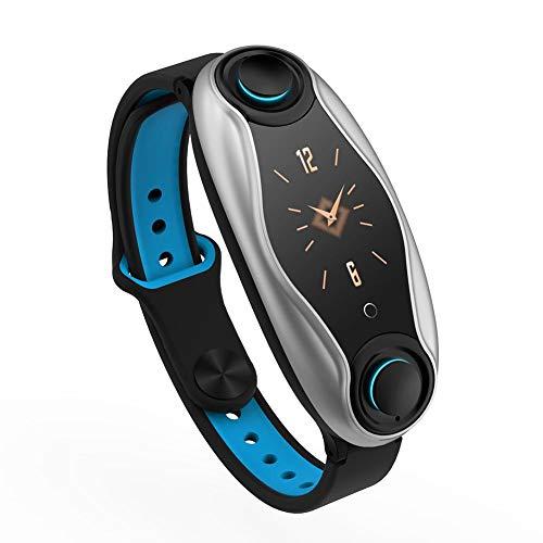 2 In 1 Smartwatch Mit Kabellosen Bluetooth Kopfhörern, AI Armband Und Bluetooth KopfhöRer,integrierte TWS Drahtlose Bluetooth Kopfhörer Blut Pulsmesser Smart Armband Lange Zeit Standby, Schwarz/Silber
