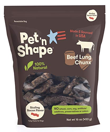 Pet 'n Shape Beef Lung Dog Treats – Made and Sourced in the USA - All Natural Healthy Treat, Bacon, 1 Lb
