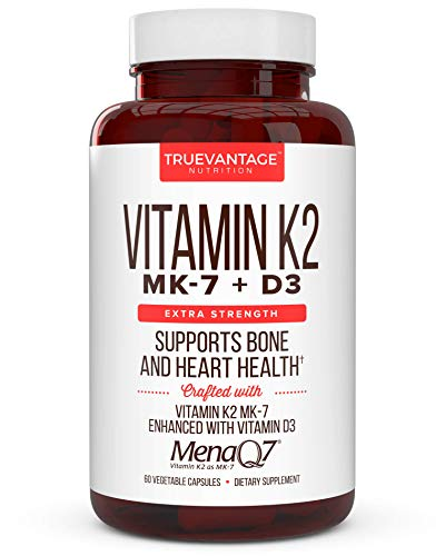 Premium Extra Strength Vitamin K2 180 mcg with D3 5000 IU – Vitamin D3 K2 MK7 Supplement for Healthy Bones, Healthy Heart & Cardiovascular Health- MenaQ7 Vitamin K Complex- 60 Capsules