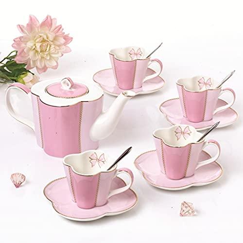 SHYPT Conjunto de té de la Tarde Café Drinkware Set Tetera con Filtro de té Tazas de café y platillos (Color : Pink)