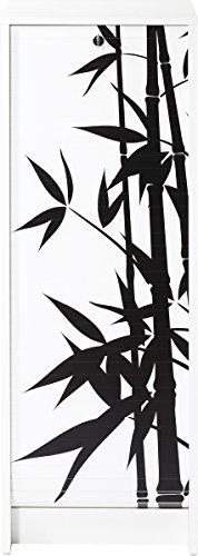 SIMMOB Classeur à Rideau Blanc bambous Hauteur 104 cm, Bois