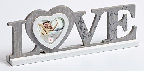 """Walther, Cornice portafoto a forma di scritta """"Love"""", Grigio (grau), 8 x 7,7 cm, legno"""