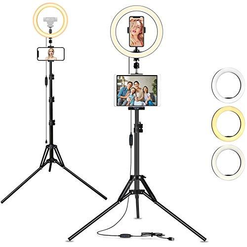 AYIZON 30cm anillo de luz con soporte, kit de luz LED para selfie con Trípode, soporte para Teléfono y Tablet, Compatible con iPhone, iPad, Logitech StreamCam C920 C930 C922 C615 Brio C925