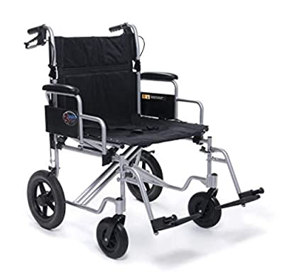 "Everest & Jennings Bariatric Transport Wheelchair, Fixed Desk Arms & Swingaway Footrests, 24"" Seat, Silver Color"