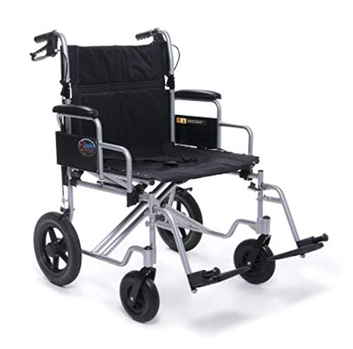 """Graham-Field-EJ777-3 Everest & Jennings Bariatric Transport Wheelchair, Fixed Desk Arms & Swingaway Footrests, 24"""" Seat, Silver Color"""