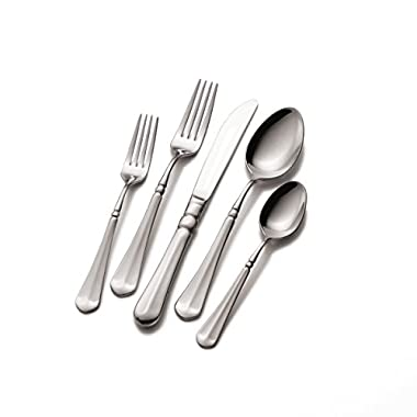 Mikasa 5112172 French Countryside 65-Piece 18/10 Stainless Steel Flatware Set with Serving Utensil Set, Service for 12