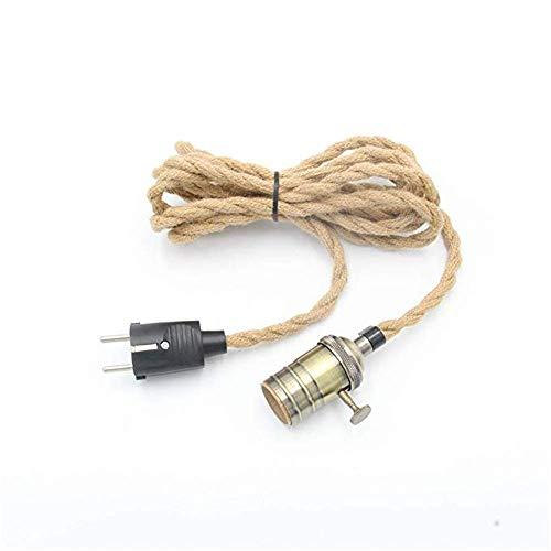 REACHYEA 3 Meter Hanfseil Kabel Plug In Pendelleuchte Kit E27 Kupfer Lampenfassung Bronze