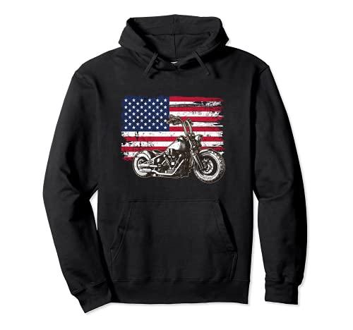 American Bike Two Wheeler Moto Chopper USA Fan Biker Sudadera con Capucha