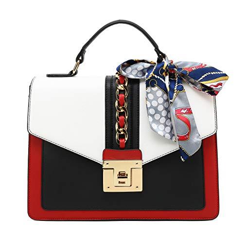 Scarleton Large Top Handle Satchel Handbag for Women, Vegan Leather Crossbody Bag, Off White, H206502
