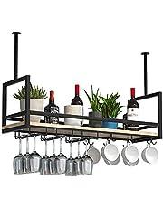 Hangende Opbergrekken Zwart, Plafond Wijnglasrekken, IJzeren Massief Houten Wijnrek, Zwevende Planken Voor Keukenbar-restaurant, Met Vangrail/Lengte 31,4/39,3/47,2 In (Size : 100 * 30 * 60cm)