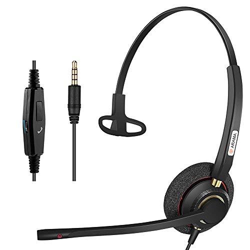 Arama ヘッドセット 片耳 3.5mm ヘッドホン マイク付き 有線 高音質 軽量 通話 ビジネス 通勤 通学 PC iPho...