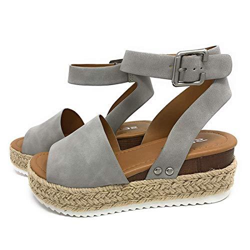 Sandalias Mujer Verano 2030 cáñamo Fondo Grueso Sandalias Punta Abierta Cuero Fondo Plano Zapatos Bohemias Romanas Hebilla Zapatillas