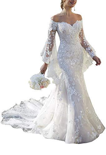 TANPAUL Off Shoulder Spitzen Brautkleider Meerjungfrau mit Abnehmbare Ärmel Mermaid Hochzeitskleid Abendkleid Schulterfrei V-Ausschnitt Hochzeit Ballkleid Meerjungfrau Kurzarm Elfenbein 54