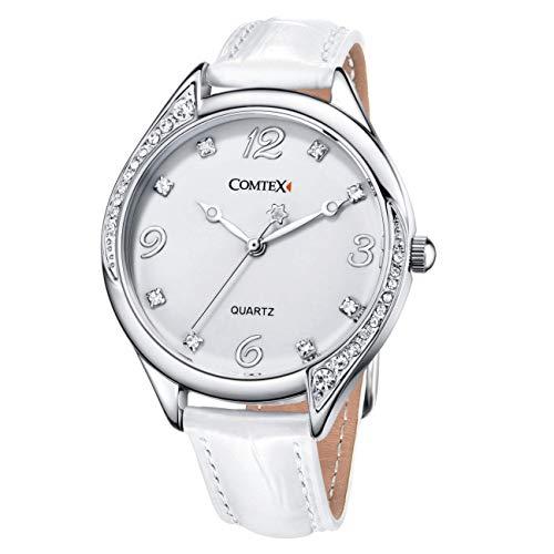 Damen Armbanduhr weißes Zifferblatt Kristall Damenuhr Weiss Lederarmband