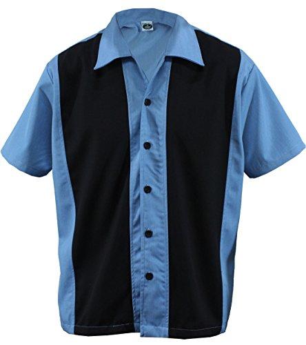 Herren Bowling Shirt Worker Hemd Rockabilly Two Tone Gabardine Lounge Fifties Vintage Retro Double Panel, D600 (L/Large, Blau/Schwarz)