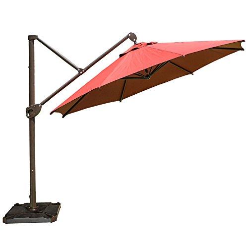 Abba Patio Offset Patio Umbrella 11-Feet Hanging Cantilever Umbrella with Cross Base and Umbrella...