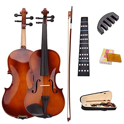 LOIKHGV Geige- 4/4 natürliche akustische Violinen-Geige in voller Größe mit Kasten-Bogen-Kolophonium-stummen Aufklebern, hölzerne Farbe