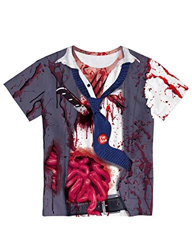 Horror Halloween, volwassen masker feestdecoratie rekwisieten maken je bang voor realistische zombies 3D bloedgedrukte korte mouwen liefhebbers T-shirt