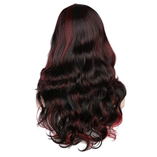 Femmes Long Wavy Perruque Blonde conchyliculture Mixte Noir Rouge résistant à la Chaleur Perruques de Cheveux synthétiques,Noir Rouge,22inches