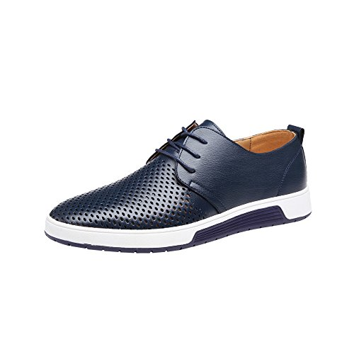 Celucke Herren Anzugschuhe Oxford, Lederschuhe Derby Schuhe Business Casual Budapester Schnürschuhe Schwarz Navy Braun EU40-48