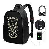 Pirates USB Backpack Carry On Bags Zaino per laptop da 17 pollici per scuola di viaggio Busin