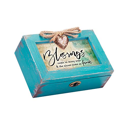 Cottage Garden Friends are Blessings Inspirational Petite Teal Distressed Locket Music Box Plays Friend in Jesus