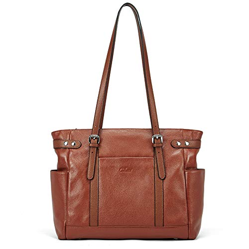 Laptop Totes for Women Genuine Leather Briefcase Large Ladies Shoulder Bag Work Handbags 15.6 Inch Computer Brown