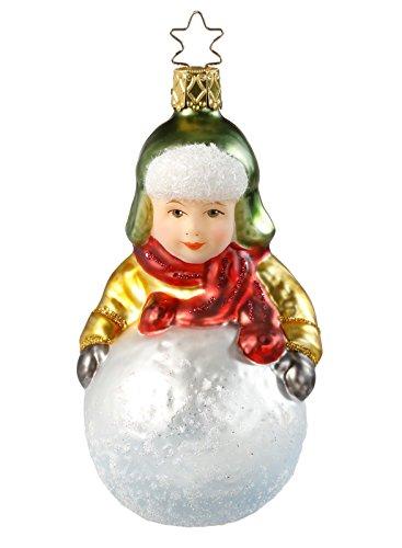 Inge-Glas Manifattura con la coronina stellata divertirsi nella neve con il bambino con palla da neve, 11,5 cm decorazione per albero di Natale