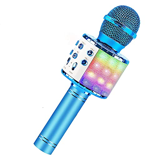 BlueFire Bluetooth 4 in 1 Karaoke Wireless Microphone with LED Lights, Portable Microphone for Kids,...