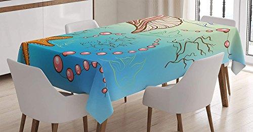 Decoración de perlas Mantel, Decoración temática Bajo el mar Perlas Concha Estrellas de mar Peces Decoración náutica Imagen de vida marina, Cubierta de mesa rectangular para cocina de comedor, Azul ro