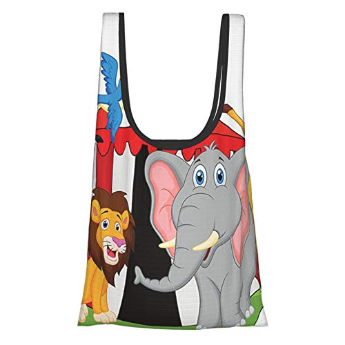 Decoración de circo entrenado acróbata animales en circo carpa feliz jirafa elefante alegre arte rojo verde amarillo reutilizable bolsas de comestibles, bolsa de compras ecológica