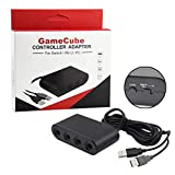 GameCube Controller Adapter SwitchTurbo function,BRHE NGC Controller Converter for Switch/Wii U & PC Super Smash Bros, Switch GameCube Controller Adapter 4 Port Black