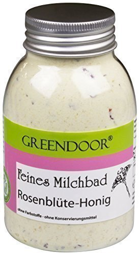 Greendoor Milchbad Rosenblüte-Honig 250ml aus der Naturkosmetik Manufaktur, Milch Bad natürlicher Badezusatz, Entspannungsbad, 100% natürliche Inhaltsstoffe, bioabbaubar