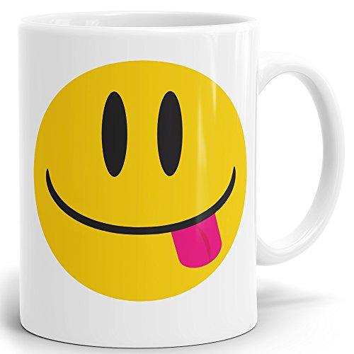 Drucksaal Smiley Smilie Emoji Emoticon Tasse-Kaffeebecher-Becher Smilie-Zunge Raus