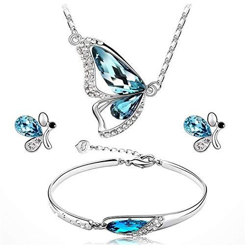 guodong Bonito Conjunto de Joyas de Cristal Azul para Mujer, Pendientes de botón de Color Plateado con Encanto para Mujer, Delicada Pulsera de Mariposa, Collar de Cadena de Boda