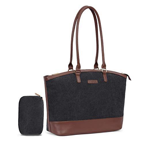 FOSTAK Damen Aktentasche Messenger Bag Tote Bag Handtasche stilvoll Shopper Schultertasche Umhängetasche / 15.6 Inch Business Arbeitstasche Laptoptasche für 15-15,6 Zoll Notebook,Canvas Schwarz