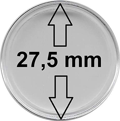 w-deal Münzkapseln 27,5 mm, 50 Stück , ohne Rand, passend für z.B. 5 Euro - Münzen