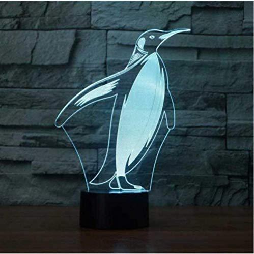 YOUPING 3D LED Mesita de Noche Decoración Pingüino Modelado Lámpara de Mesa Bebé Sueño Luz de Noche 7 Cambio de Color Animales Iluminación Niños