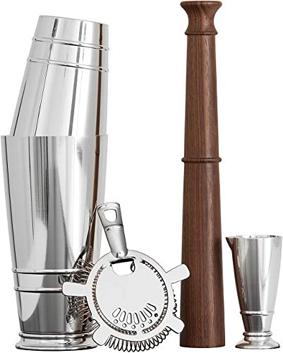 Crafthouse by Fortessa Professional Barware/Bar Tools by Charles Joly, Boston Shaker Set de regalo, color plateado