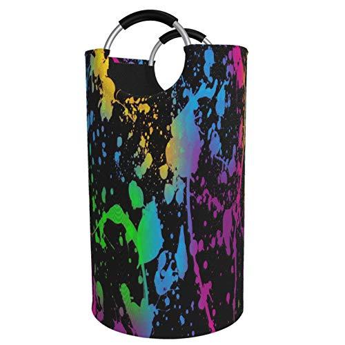 SAIKOUNOYA Glow in Dark Splatter Neon Large Laundry Hamper Basket with Aluminum Handles, Collapsible Fabric Waterproof Portable Dirty Clothes Bag