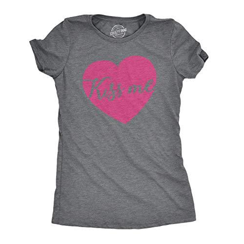 Crazy Dog Tshirts - Womens Kiss Me Script Heart Cute Relationship Flirting T Shirt for Ladies (Dark Heather Grey) - X-Large - Camiseta para Mujer