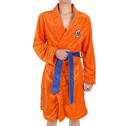 EDMKO Noche Robe para Niños Adultos Dragon Ball Son Goku Cosplay Bata De Felpa Bata De Baño con Cinturón Suave Agradable Albornoz Ropa De Dormir Grueso Flannel Fleece,150